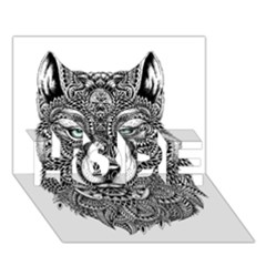Intricate Elegant Wolf Head Illustration Hope 3d Greeting Card (7x5)