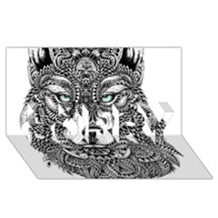 Intricate Elegant Wolf Head Illustration Sorry 3d Greeting Card (8x4)
