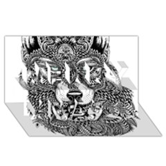 Intricate Elegant Wolf Head Illustration Merry Xmas 3d Greeting Card (8x4)