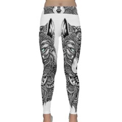 Intricate Elegant Wolf Head Illustration Yoga Leggings