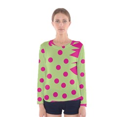 0012b Moongreenandmagentaabstract1 Women s Long Sleeve T-shirts by CircusValleyMall