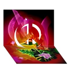 Awesome F?owers With Glowing Lines Peace Sign 3d Greeting Card (7x5)  by FantasyWorld7