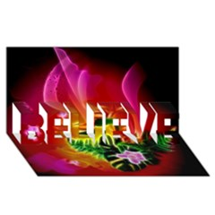 Awesome F?owers With Glowing Lines Believe 3d Greeting Card (8x4)  by FantasyWorld7