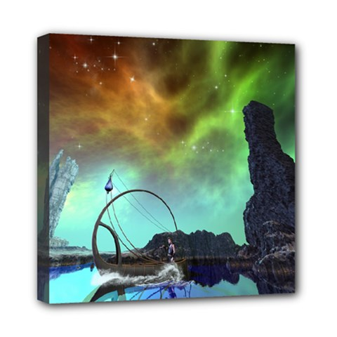Fantasy Landscape With Lamp Boat And Awesome Sky Mini Canvas 8  X 8  by FantasyWorld7