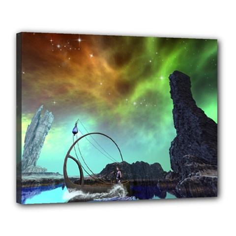 Fantasy Landscape With Lamp Boat And Awesome Sky Canvas 20  X 16