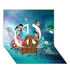 Music, Pan Flute With Fairy Peace Sign 3d Greeting Card (7x5)  by FantasyWorld7