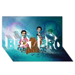 Music, Pan Flute With Fairy Best Bro 3d Greeting Card (8x4)