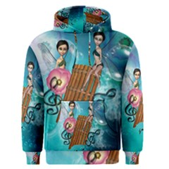 Music, Pan Flute With Fairy Men s Pullover Hoodies