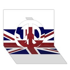 Brit8 Peace Sign 3d Greeting Card (7x5)