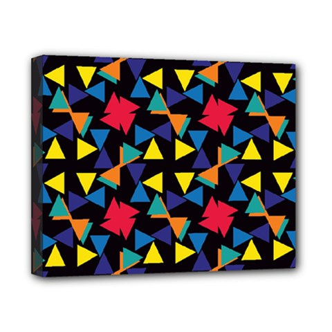 Colorful Triangles And Flowers Pattern Canvas 10  X 8  (stretched) by LalyLauraFLM