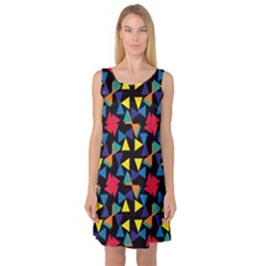 Colorful triangles and flowers pattern Sleeveless Satin Nightdress