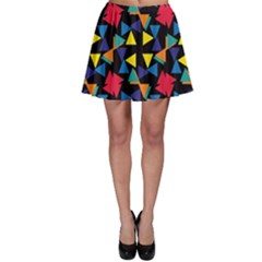 Colorful Triangles And Flowers Pattern Skater Skirt by LalyLauraFLM