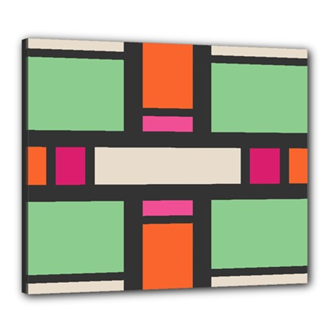 Rectangles Cross Canvas 24  X 20  (stretched) by LalyLauraFLM