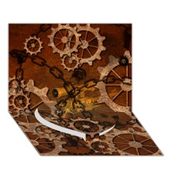 Steampunk In Rusty Metal Heart Bottom 3d Greeting Card (7x5)