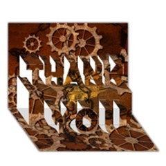 Steampunk In Rusty Metal Thank You 3d Greeting Card (7x5)