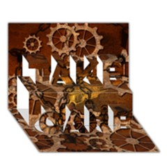 Steampunk In Rusty Metal Take Care 3d Greeting Card (7x5)  by FantasyWorld7