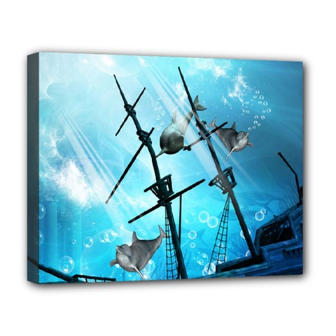 Underwater World With Shipwreck And Dolphin Deluxe Canvas 20  X 16   by FantasyWorld7