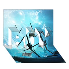 Underwater World With Shipwreck And Dolphin Boy 3d Greeting Card (7x5)