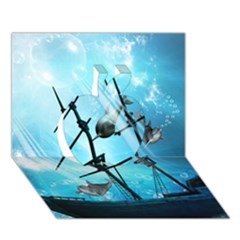 Underwater World With Shipwreck And Dolphin Apple 3d Greeting Card (7x5)