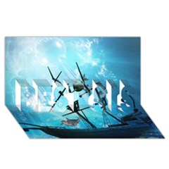 Underwater World With Shipwreck And Dolphin Best Sis 3d Greeting Card (8x4)