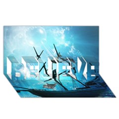 Underwater World With Shipwreck And Dolphin Believe 3d Greeting Card (8x4)