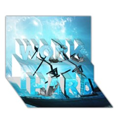 Underwater World With Shipwreck And Dolphin Work Hard 3d Greeting Card (7x5)