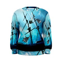 Underwater World With Shipwreck And Dolphin Women s Sweatshirts