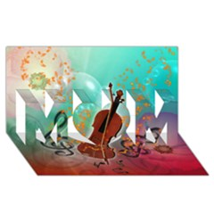 Violin With Violin Bow And Key Notes Mom 3d Greeting Card (8x4)  by FantasyWorld7