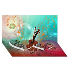Violin With Violin Bow And Key Notes Twin Heart Bottom 3d Greeting Card (8x4)  by FantasyWorld7