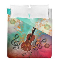 Violin With Violin Bow And Key Notes Duvet Cover (twin Size) by FantasyWorld7