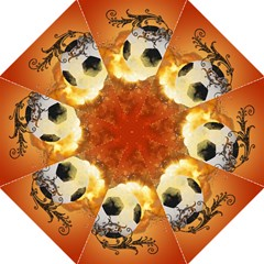 Soccer With Fire And Flame And Floral Elelements Straight Umbrellas by FantasyWorld7