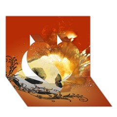 Soccer With Fire And Flame And Floral Elelements Heart 3d Greeting Card (7x5)  by FantasyWorld7