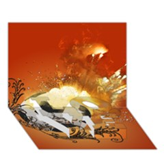 Soccer With Fire And Flame And Floral Elelements Love Bottom 3d Greeting Card (7x5)