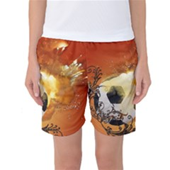 Soccer With Fire And Flame And Floral Elelements Women s Basketball Shorts by FantasyWorld7