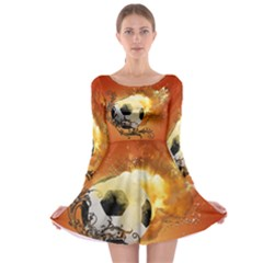 Soccer With Fire And Flame And Floral Elelements Long Sleeve Skater Dress by FantasyWorld7