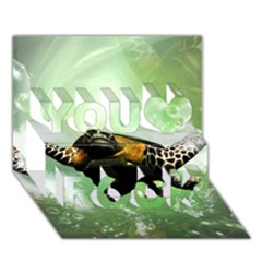 Beautiful Seaturtle With Bubbles You Rock 3d Greeting Card (7x5)