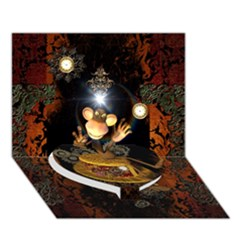 Steampunk, Funny Monkey With Clocks And Gears Heart Bottom 3d Greeting Card (7x5)
