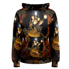Steampunk, Funny Monkey With Clocks And Gears Women s Pullover Hoodies by FantasyWorld7