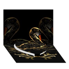 Wonderful Swan In Gold And Black With Floral Elements Heart Bottom 3d Greeting Card (7x5)  by FantasyWorld7