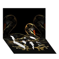 Wonderful Swan In Gold And Black With Floral Elements Love Bottom 3d Greeting Card (7x5)