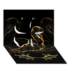 Wonderful Swan In Gold And Black With Floral Elements Clover 3d Greeting Card (7x5)
