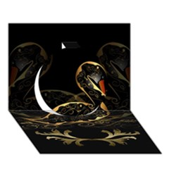 Wonderful Swan In Gold And Black With Floral Elements Circle 3D Greeting Card (7x5)