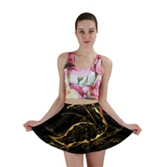Wonderful Swan In Gold And Black With Floral Elements Mini Skirts