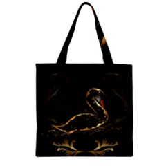 Wonderful Swan In Gold And Black With Floral Elements Zipper Grocery Tote Bags by FantasyWorld7