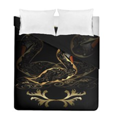 Wonderful Swan In Gold And Black With Floral Elements Duvet Cover (twin Size) by FantasyWorld7