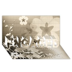 Vintage, Wonderful Flowers With Dragonflies Engaged 3d Greeting Card (8x4)