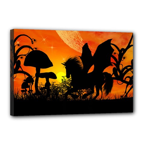 Beautiful Unicorn Silhouette In The Sunset Canvas 18  x 12  by FantasyWorld7