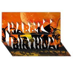 Beautiful Unicorn Silhouette In The Sunset Happy Birthday 3d Greeting Card (8x4)  by FantasyWorld7