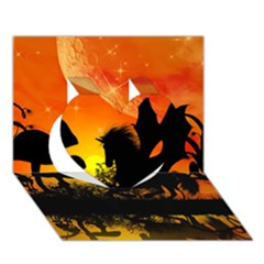 Beautiful Unicorn Silhouette In The Sunset Heart 3d Greeting Card (7x5)