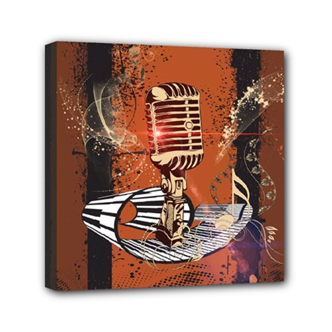 Microphone With Piano And Floral Elements Mini Canvas 6  X 6  by FantasyWorld7